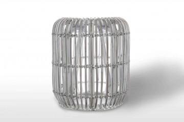Столик / пуф из ротанга CANNES 35 см белый потертый