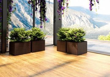 Цветочные горшки для балкона из техноротанга RUBIC Modern бронза