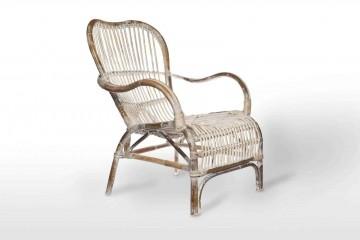 Кресло из ротанга CANNES белое потертое