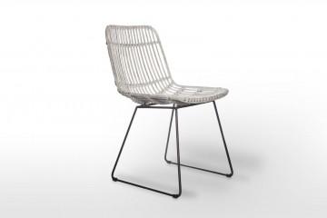 Кресло из ротанга DINAN белое потертое